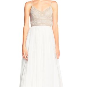 Adrianna papell sleeveless beaded tulle gown